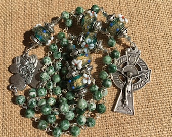 Handmade Catholic Rosary with Green and White Jade and Glass Lampwork Beads
