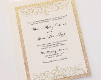 Gold Glitter Wedding Invitation - Vintage Glam Wedding Invitation - Elegant Wedding Invite - Ivory Creme Champagne Gold - Thalia Sample