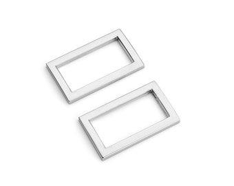 "10pcs - 1"" (25mm) Flat Zinc Square Ring - Nickel - (FSR-108) - Free Shipping"