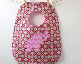 Toddler Bib - Pink Elephant Bib with Snaps - Aztec Print Baby Gift - Oversize Baby Bib - Elephant Baby Gift for Girls - Baby Gift Under 20