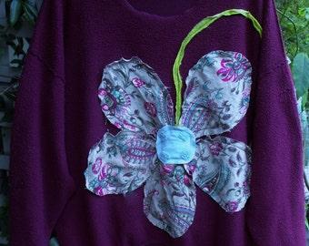 Raspberry Inside Out 3-4X Fleece Shirt/ Funky Flower Power Sweatshirt/ Oversize Embellished Sweatshirt/ SheerFab Funwear