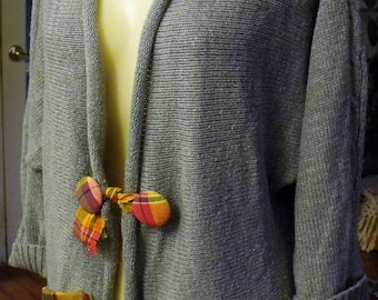 Grey Knit Shrug/Jacket/Plaid Embellishment/Covered Buttons/Funky Flower/Pocket