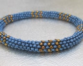 blue peyote bangle stackable bracelet beaded jewelry