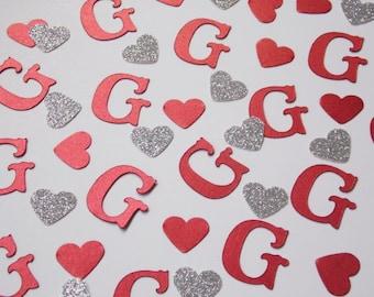 Monogram Confetti, Red Wedding Shower Decor, Wedding Reception Table Scatter, Bridal Shower Decoration, Silver Hearts