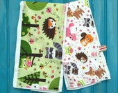 RESERVED-Set of Two Woodland Animals Burp Cloths and One Navy Fox Burp Cloth