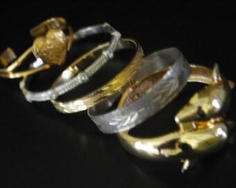 Vintage 70s-80s , lot of five bungle  bracelets. Monet, Napier, unsigned. Size 6, size7, size 7 1/2