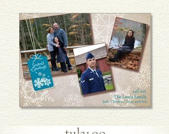 Rustic Snowflakes Gift Tag - Holiday Christmas Photo Card - PRINTABLE