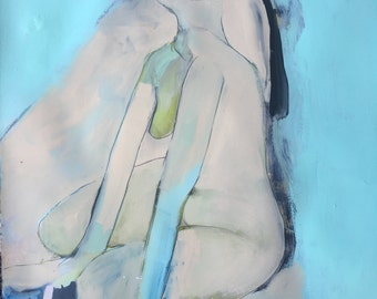 Abstract Nude, original acrylic and pencil painting on artisan paper
