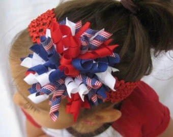 July 4th Red White Blue American Flag Korker Hair Bow Headband for Infants and Toddlers