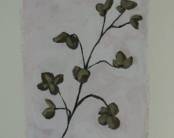 Dried Hydrangea Blossom - Original Painting by Elizabeth Bauman