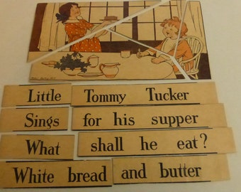 Antique Children's Puzzle Gibson's New Mother Goose Puzzle Cards Little Tommy Tucker