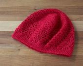 Red Lace Beanie - Crochet Hat - Skull Cap - Boho Beanie