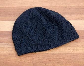 Crochet Black Kufi Hat - Skull Cap - Lace Beanie