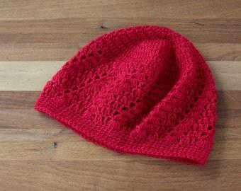 Kufi Hat - Crochet Beanie - Crochet Skull Cap - Boho Summer Hat - Red