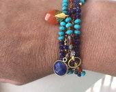 Reserved Boho Chic Lapis and Carnelian Layering Necklaces Lapis Turquoise and Carnelian layering necklace wrap bracelet
