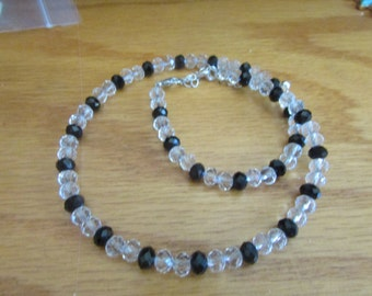 crystal bead necklace black clear beads