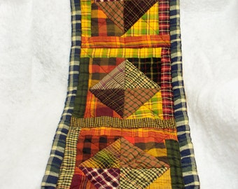 PRIMITIVE PLAID RUNNER, 9 X 24 handmade folk art quilt