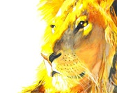Lion Art Print Gouache / Watercolor, wildlife painting, lion wall art, animal illustration, lion portrait, lion print, lion wall decor