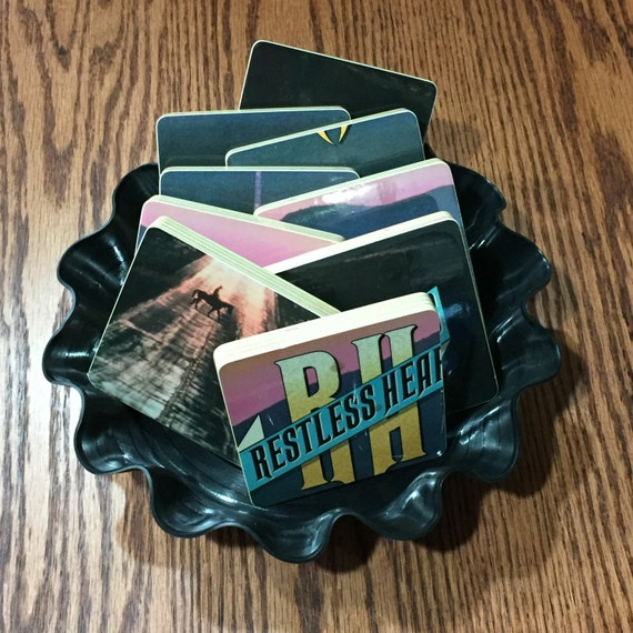 Restless Heart recycled Wheels album art cover wood coasters with record bowl