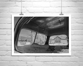 Old Truck Photograph, Western Picture, Vintage Trucks, Ghost Town, Rustic Art, Black and White, Western USA, Bodie, Murray Bolesta