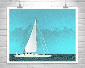 Sailboat Art, Sailing Print, Blue Art, Nautical Art, Sailing Art, Sailboat Pictures, Ocean Art, Digital Art, Block Island, Rhode Island