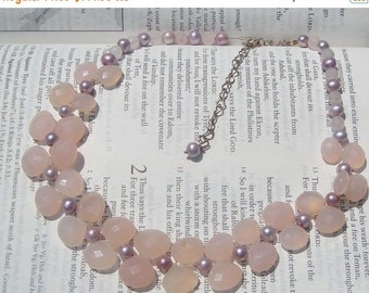 Christmas in July Pretty in Pink chalcedony and freshwater pearls necklace originally 180 dollars now 144 sale