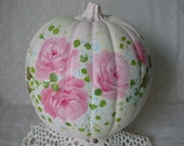Large Pumpkin Hand Painted Pink Roses Fall Autumn Decor Thanksgiving