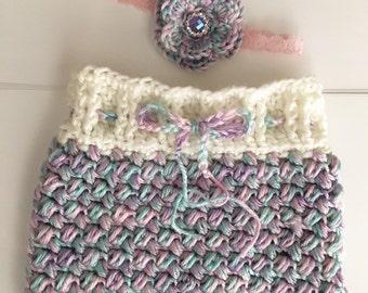 Newborn girl set.. skirt and headband.. Photo prop.. Ready to ship