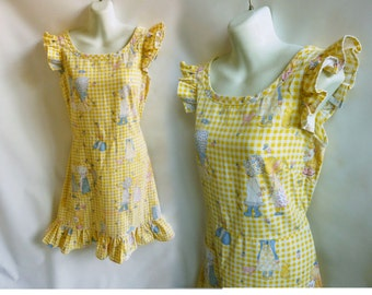 Vintage 70s Dress size M Yellow Holly Hobbie Pinafore Sun Cotton Disco Lolita