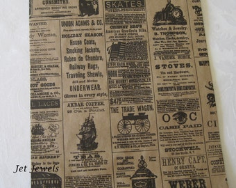 Newspaper Paper Bags, Newsprint Bags, Gift Bags, Favor Bags, Merchandise Bags, Paper Gift Bags, Vintage Style Paper Bags  8.5x11 Pack of 50