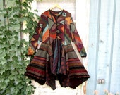Alpaca Mosaic Knit Sweater Coat// Reconstructed// Black Multi Colored// Large XL // emmevielle