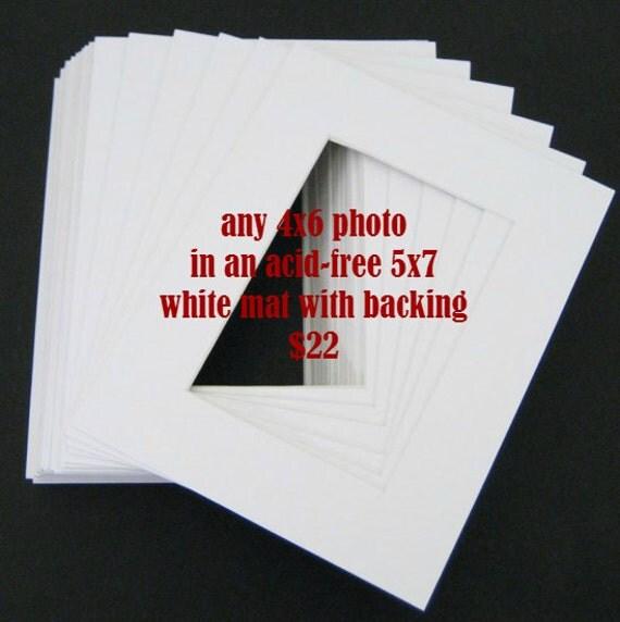 Any Rectangular 4x6 Photo in 5x7 White Mat