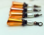 Burnt Orange Faceted Teardrop Crystal and Pearl Bead Dangle Charm Drop Set with Brass Findings