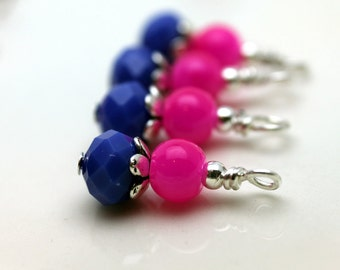 Fuschia Pink and Royal Blue/Purple with Silver Bead Dangle Charm Drop Set, Anime Charm, Girls Necklace Pendant, Pink Dangles