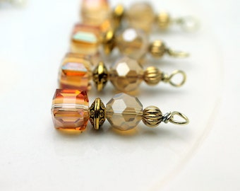 Golden Citrine Faceted Square Cube and Golden Frosted Crystal Bead Dangle Set