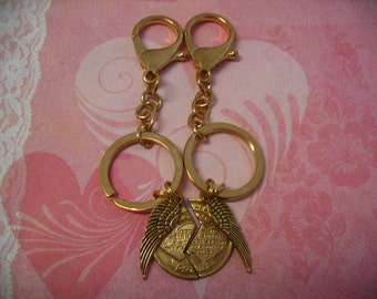 Sweetheart Mizpah Keychains with Angel Wings for Couples or Friends Gift