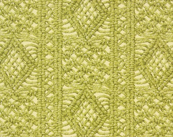 1970s Retro Vintage Wallpaper Green Macrame on Yellow by the Yard