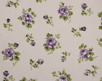 1960s Vintage Wallpaper Purple Roses Rosebuds on White by the Yard