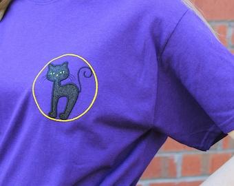Halloween Black Cat T-Shirt, Halloween Tee, Gift for Her, Halloween