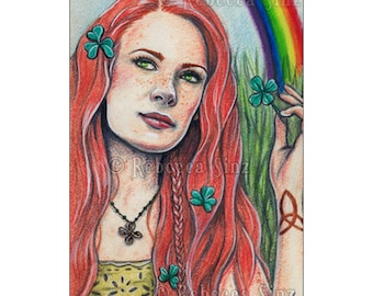 Irish Magic Limited Edition ACEO Artist Trading Cards ATC Print Shamrocks St. Patrick's Day Red Hair Freckles Rainbow Celtic Knots Clover
