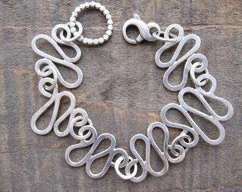 Sterling silver organic link bracelet