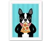 212D Pizza Print - Boston Terrier Eating Pizza Wall Art - Boston Terrier Print - Slice of Pizza Art -  Boston Terrier Art - Kitchen Decor