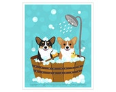 232D Dog Print - Two Corgis in Wooden Bathtub Wall Art - Welsh Corgi Print - Corgi Wall Art - Bath Prints - Bathroom Wall Art - Dog Gift