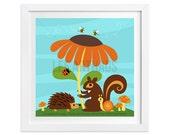 112 Woodland Nursery Print - Squirrel, Hedgehog and Flower Wall Art - Squirrel Print - Hedgehog Print - Squirrel Art - Hedgehog Wall Art