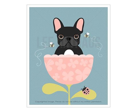 29F Dog Art Print - Black French Bulldog in Pink Flower Cup Wall Art - Cute Dog Print - Dog Nursery Theme - Pink Wall Art - Girls Decor