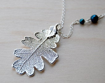 Medium Fallen Real Silver Oak Leaf Necklace - REAL Oak Leaf