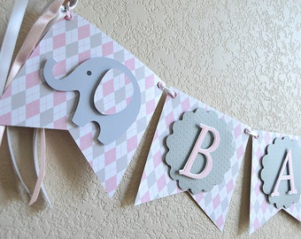 Elephant Baby Banner for a Girl, Argyle, pink, Grey, Bunting