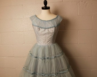 Vintage 1950's Pale Blue Tulle Formal Party Prom Dress Petite XS 24 waist