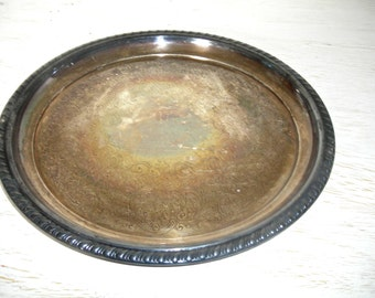 silver tray - wm rogers 869 - ornate shabby cottage chic tarnished patina - hollywood regency barware or serving piece