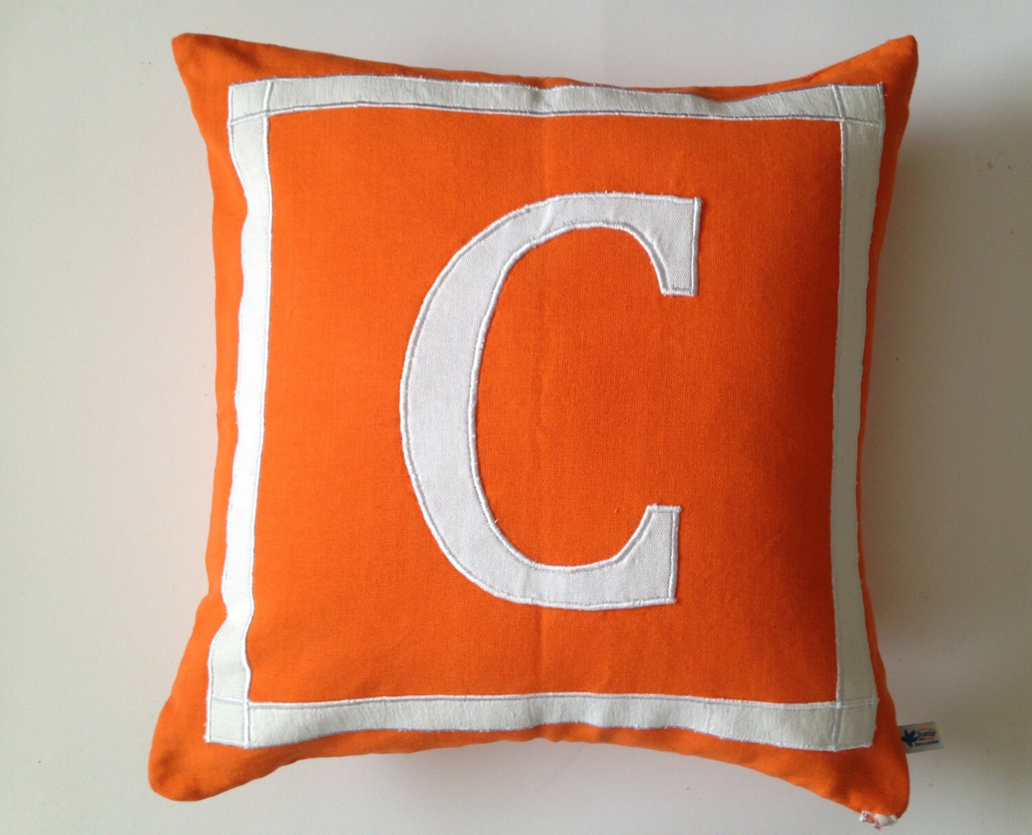 Gift for Women Orange White Decorative Pillow Covers Letter